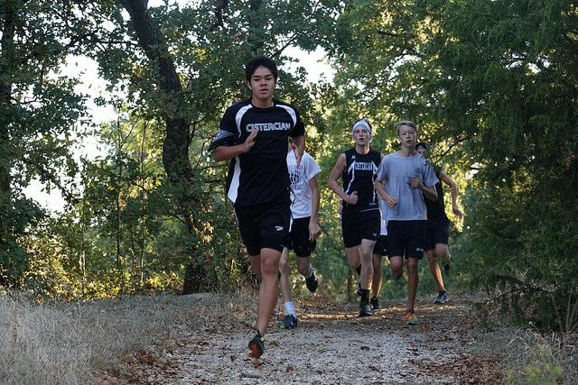 Cross Country practicing on the trails. Photo by Michael Byrne, Cistercian Exodus 2015